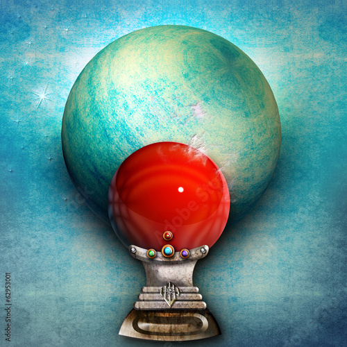 Magic red ball in the blue wall