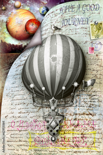 Postcard vintage with colored montgolfier
