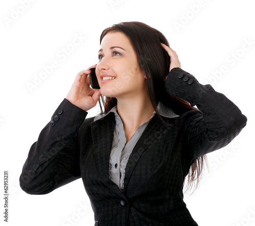 Portrait of smiling business woman phone talking.