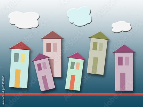 colorful homes on gradient