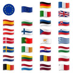 EU Mitgliedstaaten - Flaggen geschwungen