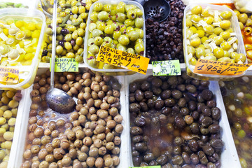 pickled olives  at Spanish market