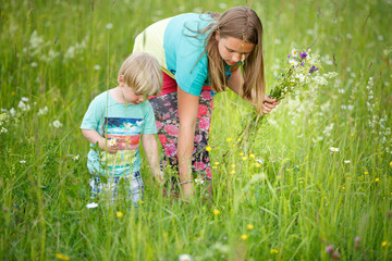 Sister with brother picking flowers