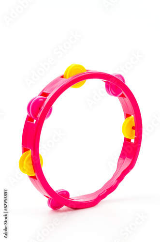 Tambourine isolated white background