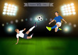 Two football players in jump to strike the ball at the stadium,