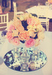 Rose flower arrangement for wedding table,vintage filter effect