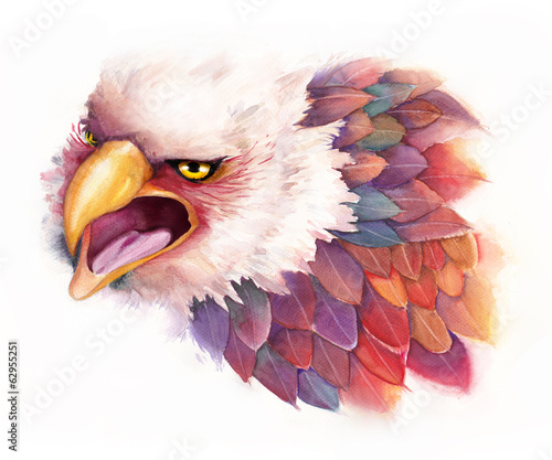 Watercolor Eagle in fantasy style