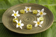 Set of frangipani and candle in bowl on green banana leaf