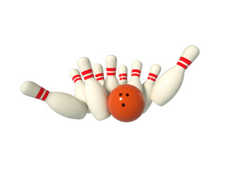 Bowling scene isolated