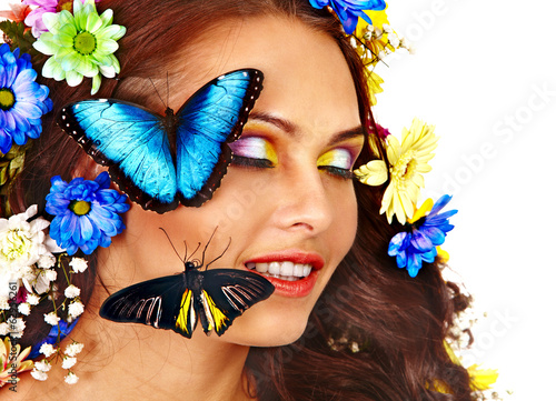 Woman with flower and  butterfly.