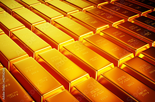 3d photo realistic image of lots of golden bar