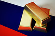 3d Photo realistic image of golden bricks with russian flag