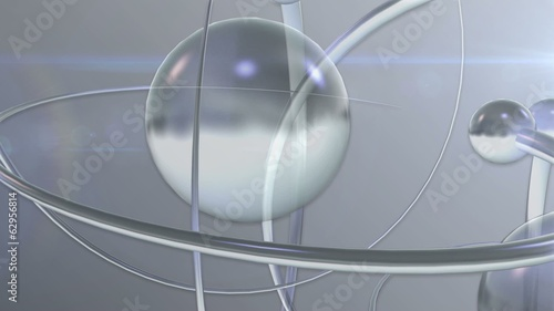 News Style Rotating Atom Shapes Translucent White Background