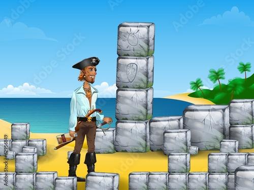 Pirate, rum and wild land