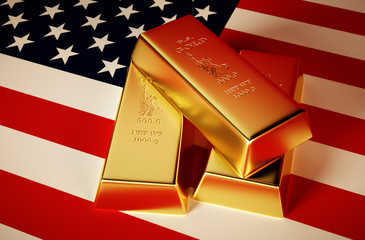 Photo-realistic image of golden bricks with U.S. background