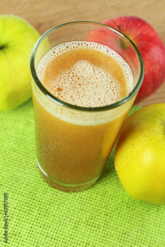 Healthy fresh juice of apples close up