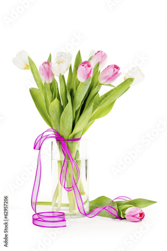 Tulip flowers in a vase isolated on white with clipping path