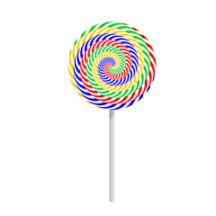 Colorful striped lollipop isolated on a white background