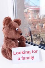 Toy-bear looking out window close-up
