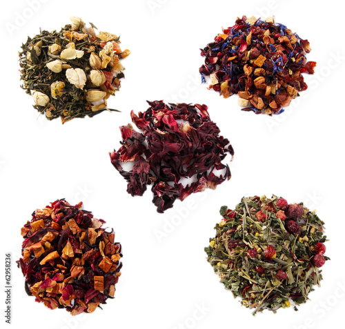 Heaps of dry tea isolated on white
