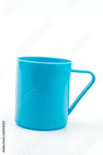 Plastic cup isolated white background