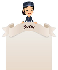 Asian Female Chef Looking at Blank Menu on Top