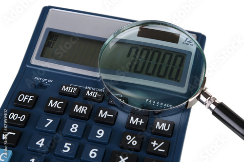 Fraud concept with magnifier and calculator, isolated on white