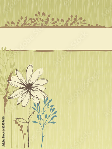 Vertical Floral Design Green