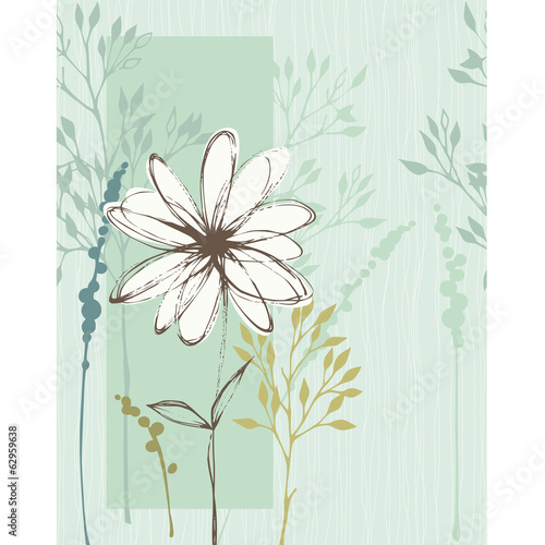 Vertical Floral Seamless Card Blue