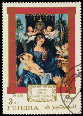 Stamp printed in Fujeira shows a painting by Durer