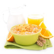 cornflakes, orange juice and milk