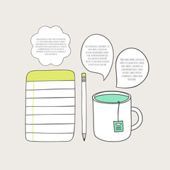 Cute notebook and cup of tea. Doodle illustration