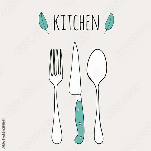 Cute cutlery. Doodle kitchen illustration