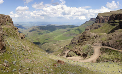Sani Pass road winding up into Lesotho