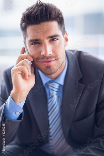 Businessman sitting on sofa making a call smiling at camera