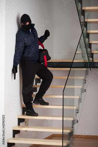 Criminal on staircase