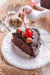 chocolate Walnut cake with cherries