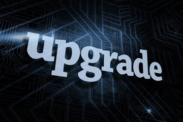 Upgrade against futuristic black and blue background