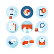 Set of flat design icons for business and finance