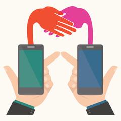 Business handshake,Smartphone concept