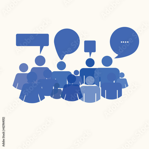 social media people meet inside a communication speech bubble