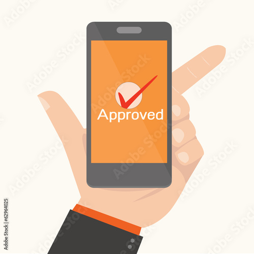Smartphone Showing Approval,Online payments concept