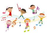 音符と子供集合