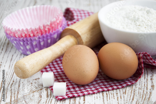 baking ingredients on a table