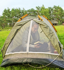 Man in the tent.