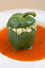 Stuffed green pepper with rice