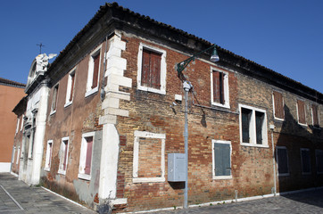 Red brick house in Murano Island in Venice