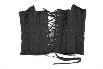 Leather corset with a lacing