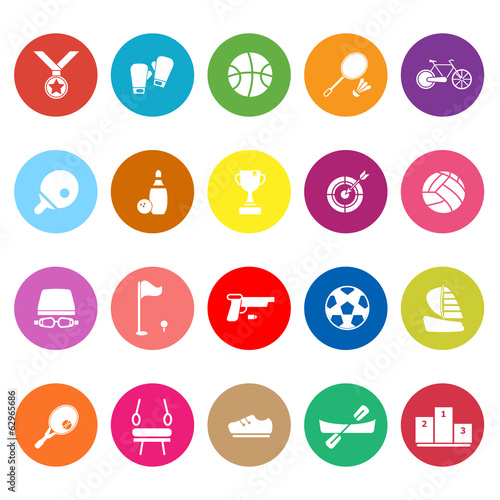 Sport game athletic flat icons on white background