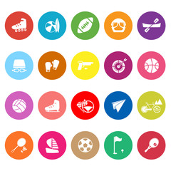 Extreme sport flat icons on white background